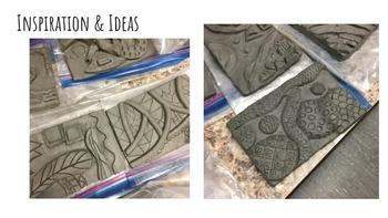 Abstract Clay Pattern Relief Sculptures