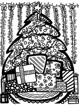 Abstract Doodles Christmas2 -5 pages to color