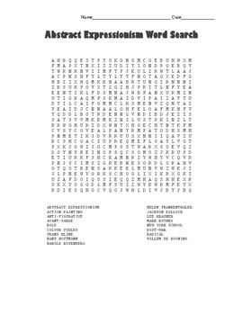 Abstract Expressionism Word Search