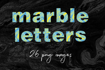 Abstract Marble Alphabet Clipart, Marble Letters, Abstract Font, Suminagashi
