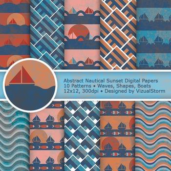 Blue and Orange Nautical Digital Paper, 10 Printable Ocean Backgrounds