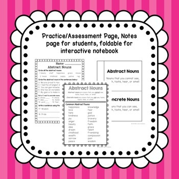 Abstract Noun Activities (Common Core Aligned)
