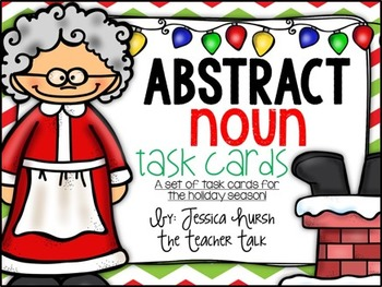 Abstract Noun Task Cards - Holiday Edition