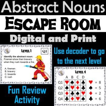 Abstract Nouns Activity: Escape Room Grammar