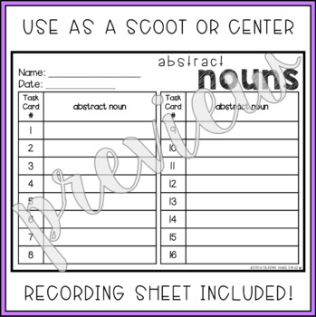 Abstract Nouns Task Cards