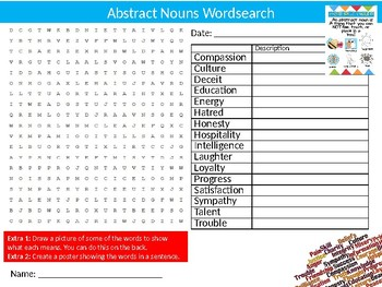 Abstract Nouns Wordsearch Puzzle Sheet Keywords English Language Vocabulary