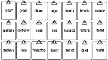 Abstract Nouns cards