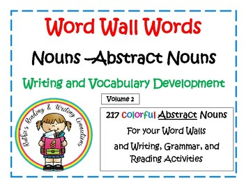 Abstract Nouns for your Word Walls