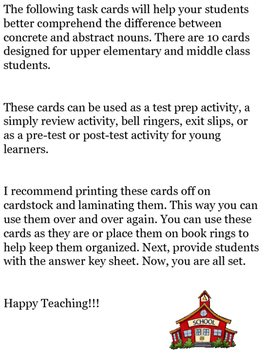 Abstract Nouns vs. Concrete Nouns Task Cards for Upper Elementary/Middle School