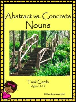 Abstract Nouns vs. Concrete Nouns Task Cards for Upper Ele