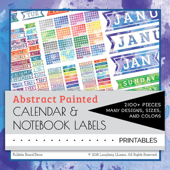 Abstract Painted Calendar and Notebook Labels Months Watercolor