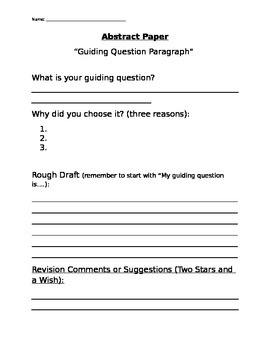 Abstract Paper-- Guiding Question Packet