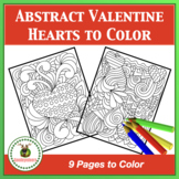 Abstract Valentine Heart Designs to Color