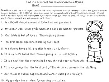 Abstract and Concrete Noun Thanksgiving Learning Craft