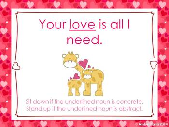Abstract and Concrete Nouns Sit Down Stand Up Active Learning Valentine Game