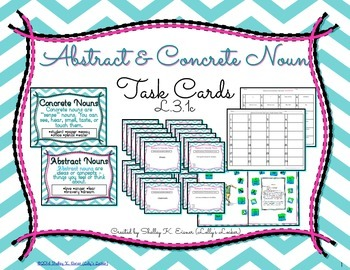 Abstract and Concrete Nouns Task Cards L.3.1c by Lolly's Locker ...