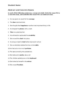 Abstract and Concrete Nouns worksheet