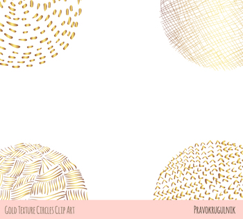 Abstract gold texture circles clipart, Golden doodle round shapes scribble tag