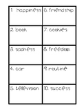 Abstract or Concrete Nouns Task Cards