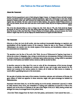 Abu Taleb on the West and Western Influence-AP Primary Sources Doc. Analysis