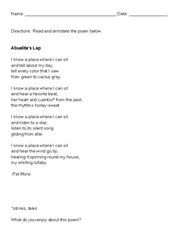 Abuelita's Lap by Pat Mora- Poetry Analysis & Writing Activity