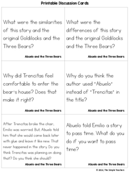 Abuelo and the Three Bears - Summarize Comprehension Lesson