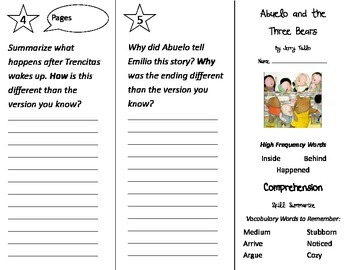 Abuelo and the Three Bears Trifold - Treasures 2nd Grade Unit 3 Week 2