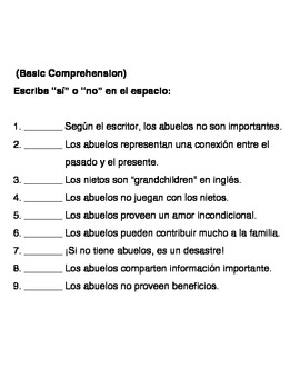 Abuelos essay (in Spanish) with written activities