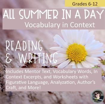 All Summer in a Day Vocabulary in Context, with Literary and Writing Activities