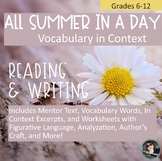 All Summer in a Day Vocabulary in Context, with Literary a