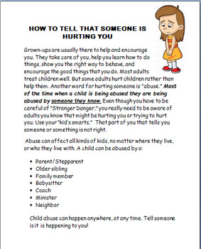 """Abuse """"Telling a Trusted Adult about Abuse"""" Elementary-3 activities"""
