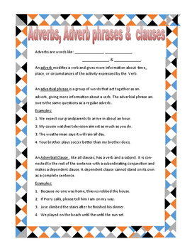 Adverbs, Adverb phrases, Adverb Clauses