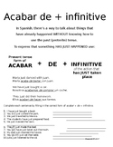 Acabar De + Infinitive Pack - Spanish - No prep - Print and go.