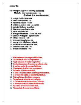 Acabar de Portuguese worksheet