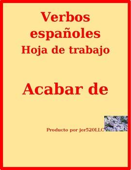 Acabar de Spanish worksheet
