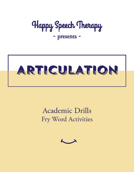 Academic Articulation Drills: Spin A Fry Word