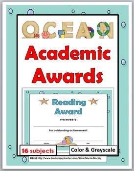 Ocean Theme Classroom Academic Awards - End of the Year Awards