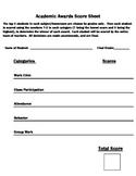 Academic Awards Score Sheet