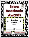 Zebra Theme Classroom Academic Awards - End of the Year Awards