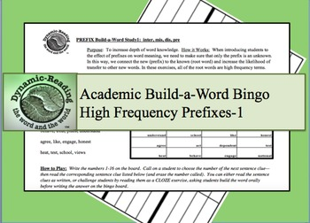 Academic Build-a-Word Study: High Frequency Prefixes-1