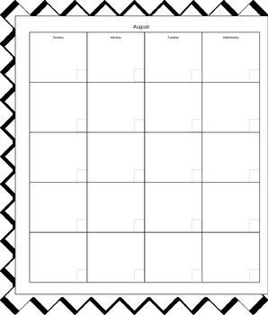 Academic Calendar 2015 - 2016 - Black & white print friendly design - Editable