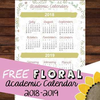 Floral Chic Yearly Academic Calendar 2018-2019