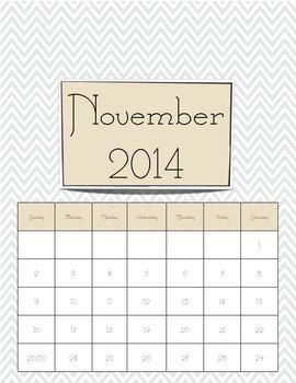 Academic Calendar - Spring Time Chevron