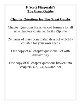 The Great Gatsby - Academic Level Chapter Questions With Answer Key