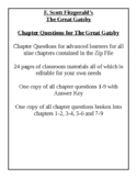The Great Gatsby - Academic Level Chapter Questions With A