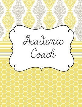 academic coach instructional coach binder in pale yellow and gray