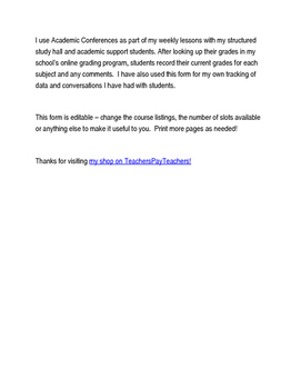 Academic Conference Form - FREE!