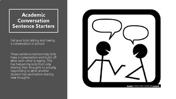 Academic Conversation Sentence Starters by 4th Grade Teaching Adventures