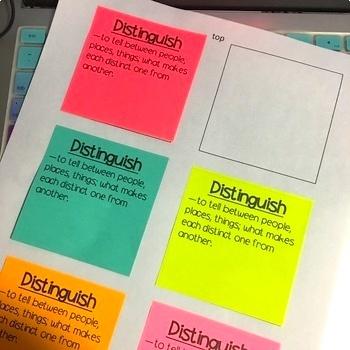Sticky Notes Template Vocabulary