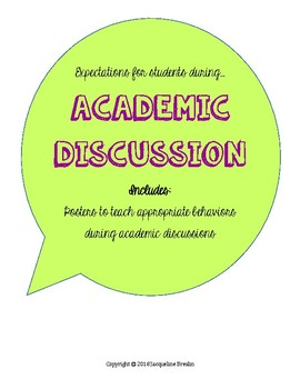 Academic Discussion Expectations Anchor Charts